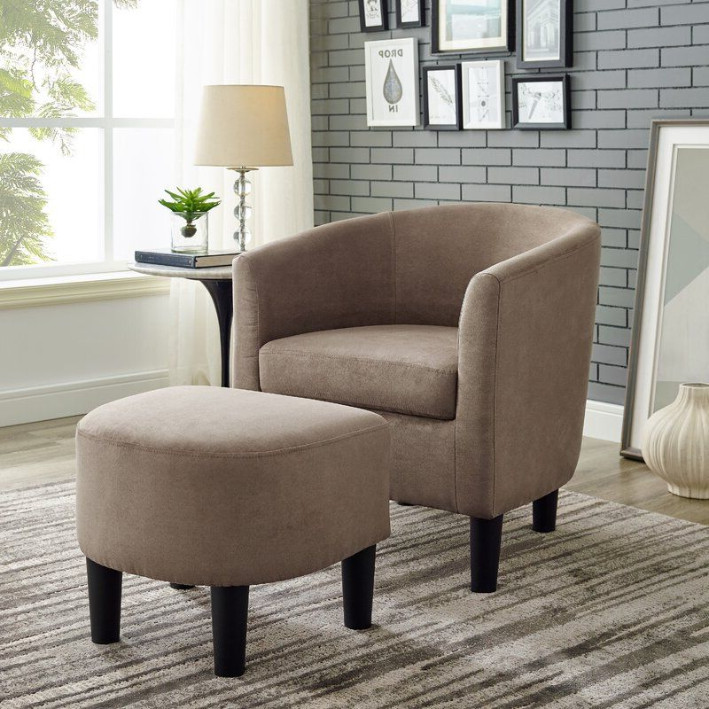 Chair And Ottoman With Regard To Most Recently Released Jazouli Linen Barrel Chairs And Ottoman (View 5 of 30)