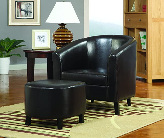 Chaithra Barrel Chair And Ottoman Sets For Fashionable Coaster Home Furnishings Barrel Back Accent Chair With Ottoman Dark Brown And Black (View 7 of 30)