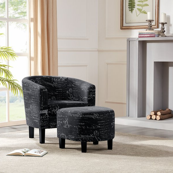 Chaithra Barrel Chair And Ottoman Sets Regarding Favorite Black Chair With Ottoman (View 24 of 30)