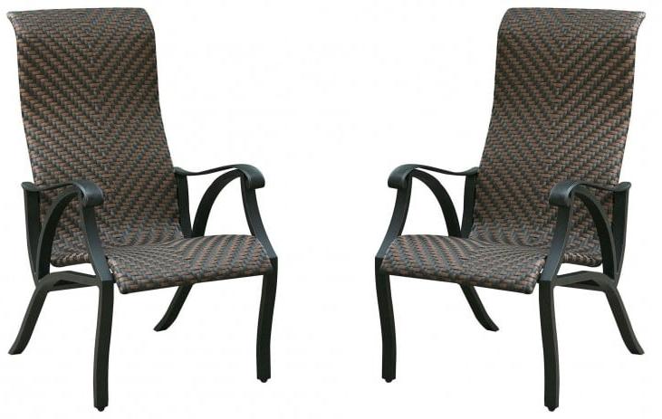 Chiara I Brown And Dark Gray Wicker Arm Chair Set Of 2 Throughout Well Known Nadene Armchairs (View 24 of 30)