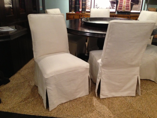 Chiles Linen Side Chairs Intended For Trendy Slipcovered Dining Chair – Rolling Chair On Wheels (View 22 of 30)