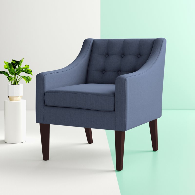 """Clopton 26"""" W Tufted Polyester Armchair With Regard To Fashionable Leia Polyester Armchairs (View 5 of 30)"""