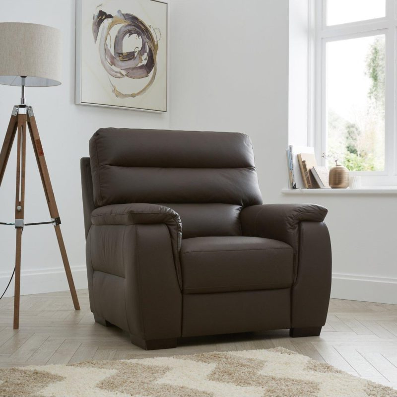 Columbus Leather Sofas – Chocolate & Black – The Furniture Co With Famous Columbus Armchairs (View 5 of 30)