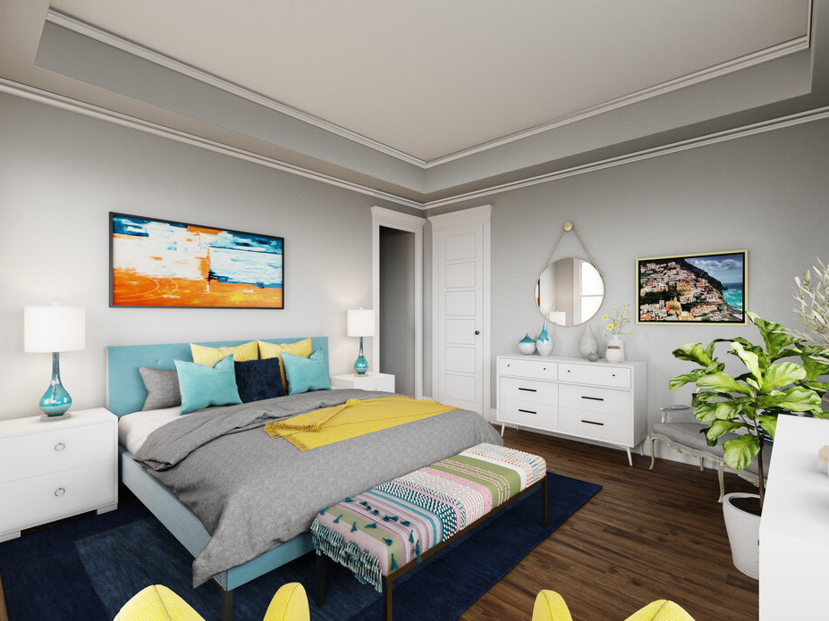 Contemporary Bedroom Design With Pops Of Color (View 17 of 30)