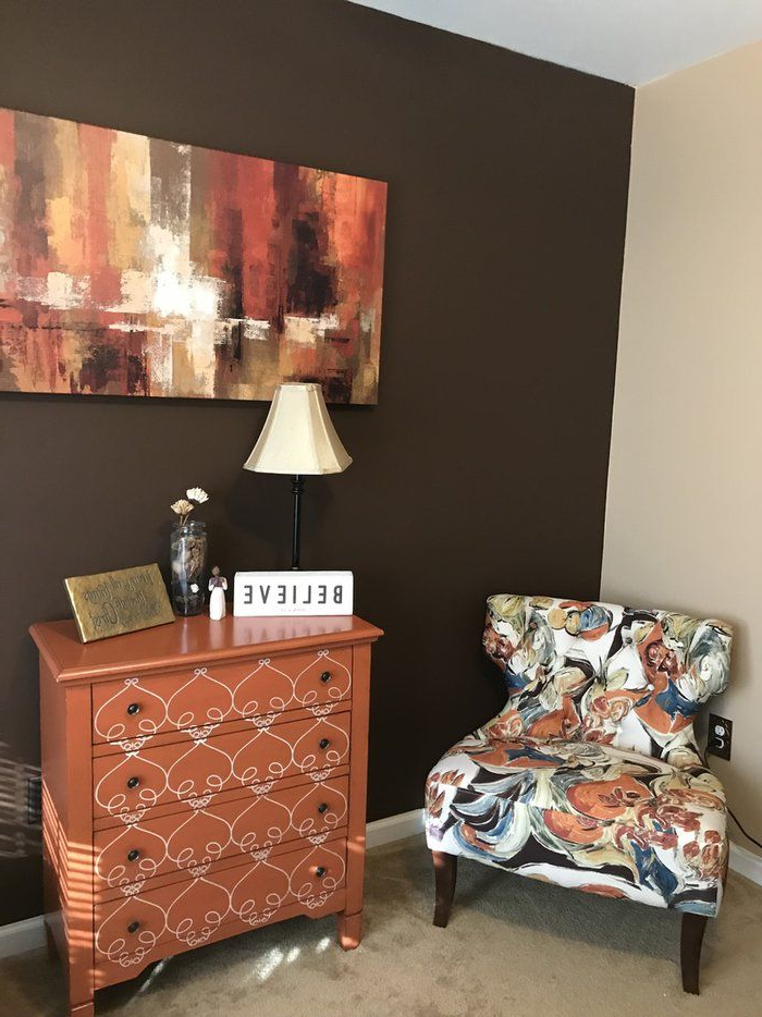 Could Do A Simple Pattern Like This On The Orange Dresser + Regarding Most Current Waterton Wingback Chairs (View 7 of 30)