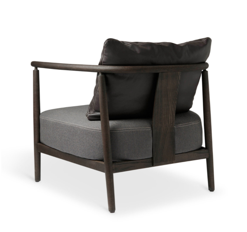 Current Armchair, Humble, Pierre Sindre, Wood Brown / Fabric Brown / Pillow Leather Brown Regarding Helder Armchairs (View 10 of 30)