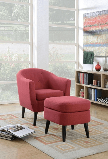 Current Burhall Barrel Chair And Ottoman Upholstery: Red #furniture Pertaining To Artemi Barrel Chair And Ottoman Sets (View 4 of 30)