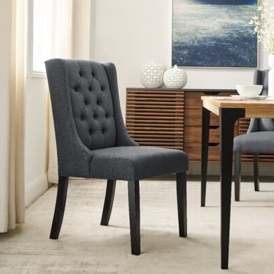 Current Karola Tufted Linen Upholstered Parsons Chair Upholstery Color: Dark Gray Throughout Alwillie Tufted Back Barrel Chairs (View 27 of 30)