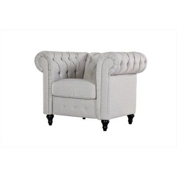 Current Radcliffe Grey Linen Arm Chair – Home Depot Throughout Cohutta Armchairs (View 30 of 30)