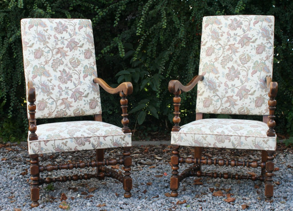 Current Reynolds Armchairs Within Good Large Pair Walnut William & Mary Style Armchairs Circa (View 30 of 30)