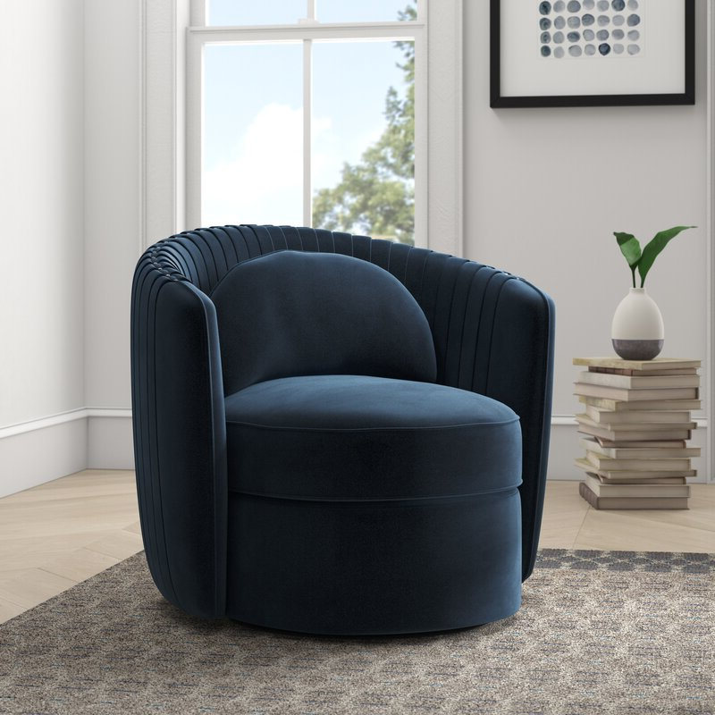 """Danow Polyester Barrel Chairs Within Widely Used Annalise 33"""" W Polyester Swivel Barrel Chair (View 3 of 30)"""