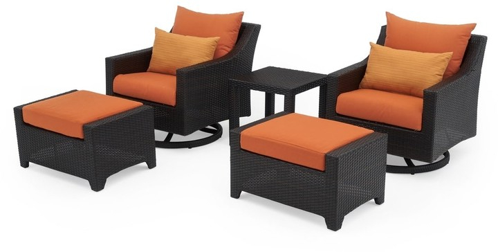 Deco 5pc Motion Club & Ottoman Set In Tikka Orange Within Well Liked Riverside Drive Barrel Chair And Ottoman Sets (View 13 of 30)