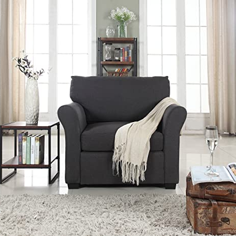 Divano Roma Furniture Classic And Traditional Linen Fabric Accent Chair Living Room Armchair (dark Grey) Pertaining To Well Known Live It Cozy Armchairs (View 15 of 30)