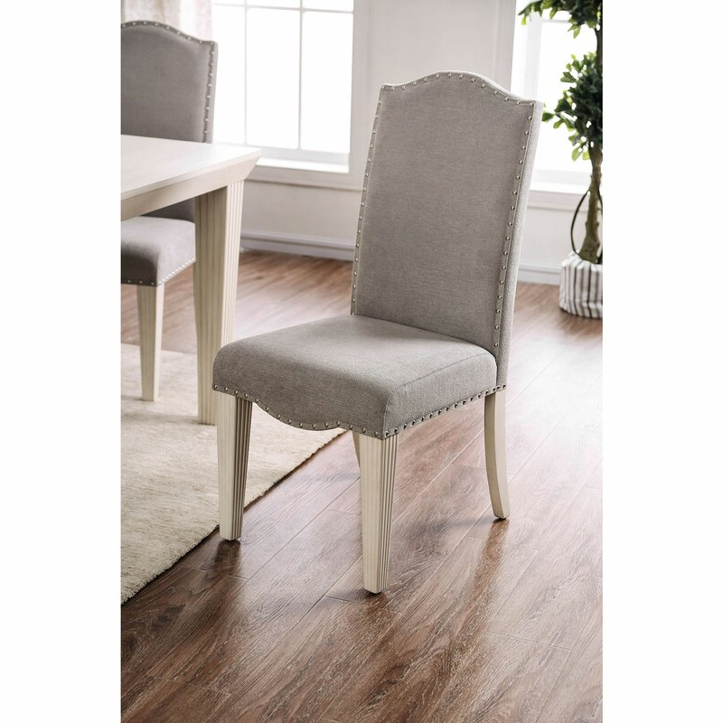 Dunphy Upholstered Dining Chair In Gray/antique White Within Recent Bob Stripe Upholstered Dining Chairs (set Of 2) (View 18 of 30)
