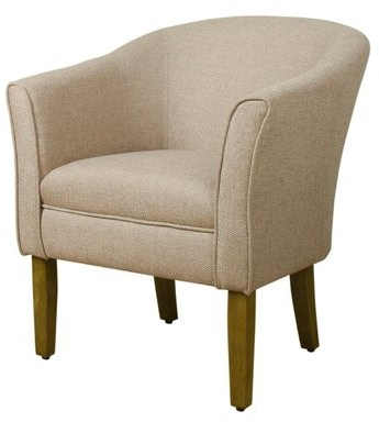 Earnistine Wood And Fabric Barrel Chair Upholstery Color: Cream, Leg Color: Brown Inside 2020 Artressia Barrel Chairs (View 5 of 30)