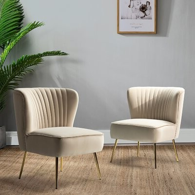 Erasmus Side Chair Fabric: Yellow Velvet Within Best And Newest Erasmus Velvet Side Chairs (set Of 2) (View 16 of 30)