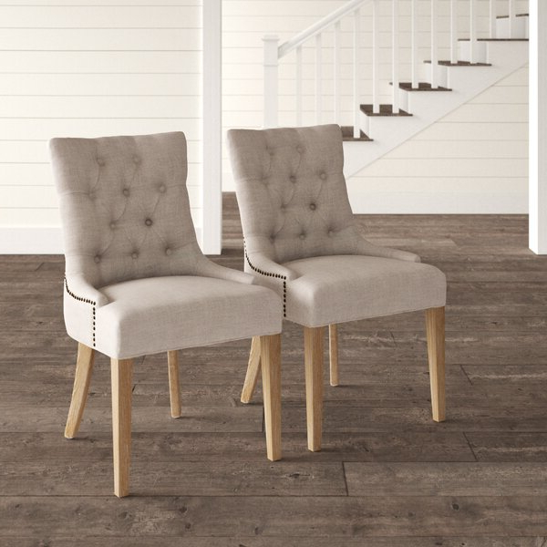 Fairman Tufted Upholstered Side Chair In Gray Intended For 2020 Madison Avenue Tufted Cotton Upholstered Dining Chairs (set Of 2) (View 5 of 30)