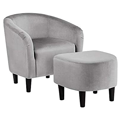 Famous Amazon: Accent Chair With Ottoman With Regard To Lucea Faux Leather Barrel Chairs And Ottoman (View 10 of 30)