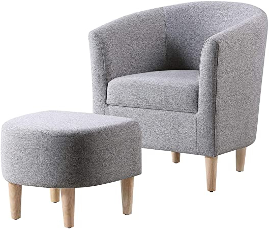 Famous Amazon: Dazone Modern Accent Chair Upholstered Comfy Arm Pertaining To Danny Barrel Chairs (set Of 2) (View 7 of 30)