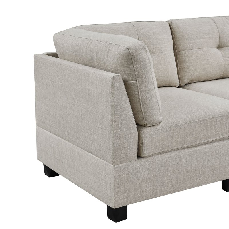 """Famous Annegret Faux Leather Barrel Chair And Ottoman Sets For Aelber 118"""" Wide Reversible Modular Sofa & Chaise Sectional With Ottoman (View 20 of 30)"""
