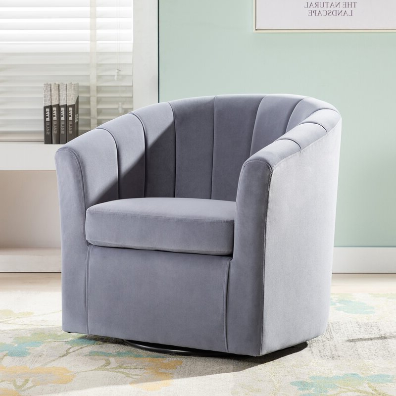 Famous Claudel Polyester Blend Barrel Chairs Within Barrentine Swivel Barrel Chair (View 4 of 30)