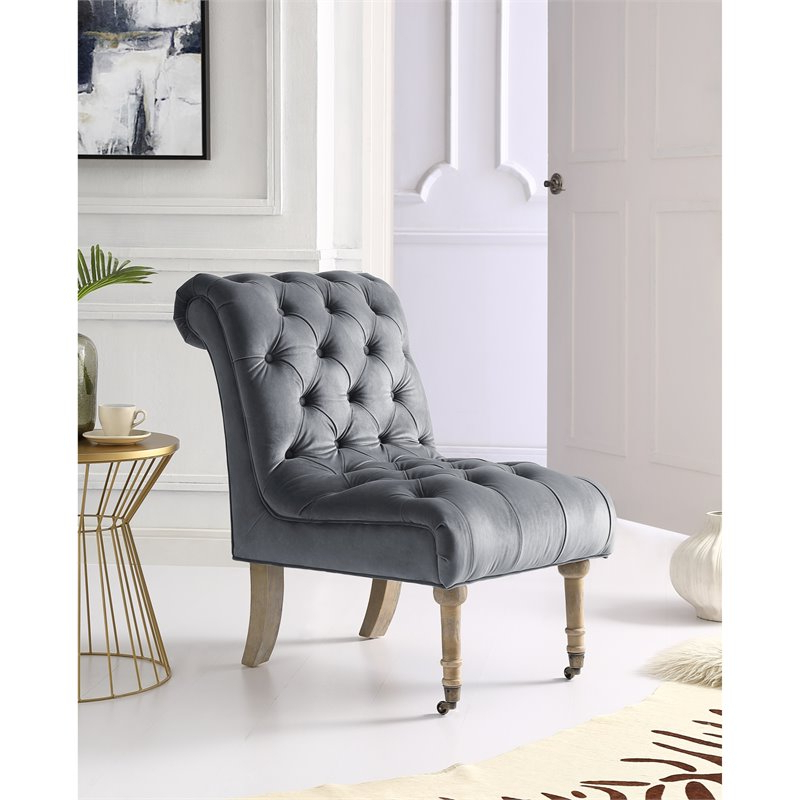 Famous Cole Grey Velvet Accent Chair – Rolled Back – Armless – Button Tufted – Walmart In Goodyear Slipper Chairs (View 17 of 30)