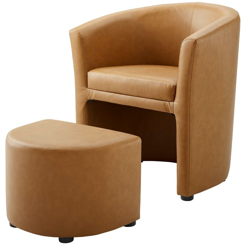 """Famous Darvin 28"""" W Faux Leather Barrel Chair And Ottoman Intended For Hallsville Performance Velvet Armchairs And Ottoman (View 11 of 30)"""