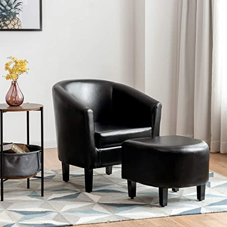 Famous Faux Leather Barrel Chair And Ottoman Sets Inside Giantex Modern Accent Chair With Ottoman, Upholstered Barrel Tub Chair And Footrest Set, Faux Leather Club Arm Chair W/solid Wood Legs, Ideal For (View 12 of 30)