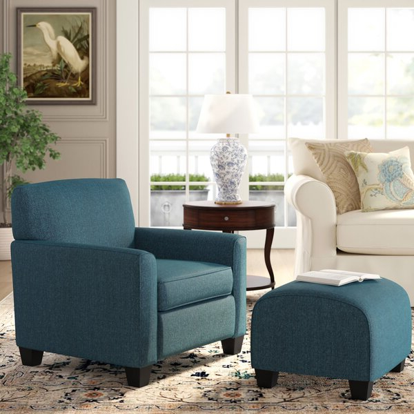 Famous Hallsville Performance Velvet Armchairs And Ottoman Intended For Armchair And Ottoman (View 28 of 30)