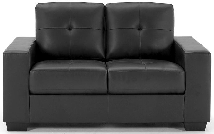 Famous Jill Faux Leather Armchairs Regarding Vida Living Gemona Black Faux Leather 2 Seater Sofa – Cfs Furniture Uk (View 14 of 30)