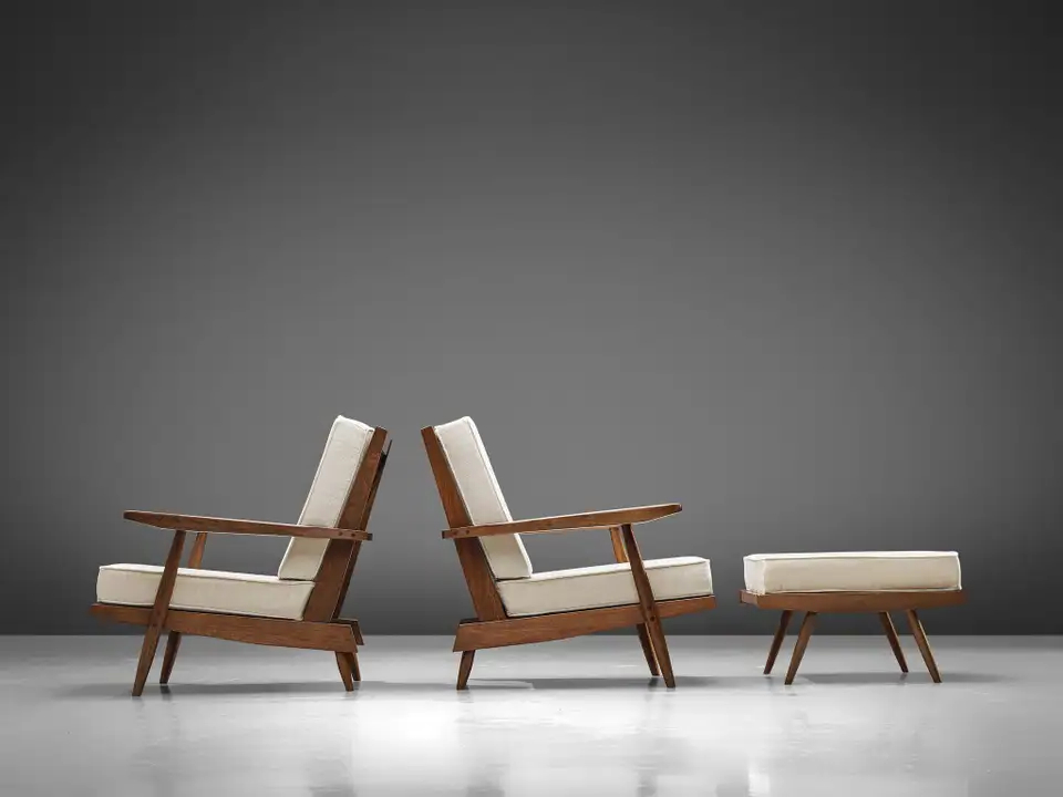 Famous Modern Armchairs And Ottoman With Regard To George Nakashima Spindleback Armchairs With Ottoman In (View 30 of 30)