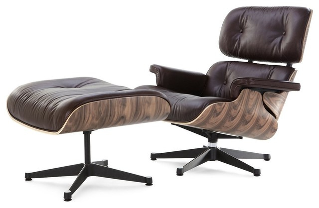 Famous Modern Lounge Chair And Ottoman, Brown Italian Leather Regarding Modern Armchairs And Ottoman (View 29 of 30)