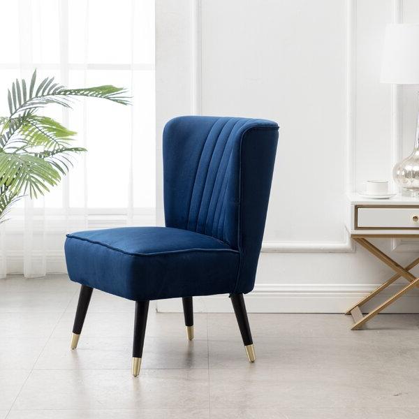 Fashionable Billiot Contemporary Velvet Upholstered Accent Chair, Blue For Easterling Velvet Slipper Chairs (View 5 of 30)