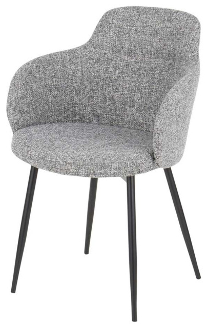Fashionable Boyne Industrial Chair In Black Metal & Grey Noise Fabric For Ronda Barrel Chairs (View 25 of 30)