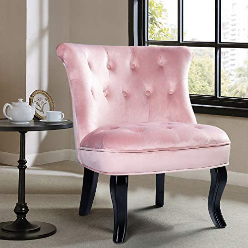 Fashionable Didonato Tufted Velvet Armchairs Pertaining To Pink Upholstered Chair/jane Tufted Velvet Armless Accent Chair With Black Birch Wood Legs – Blush Pink (View 16 of 30)