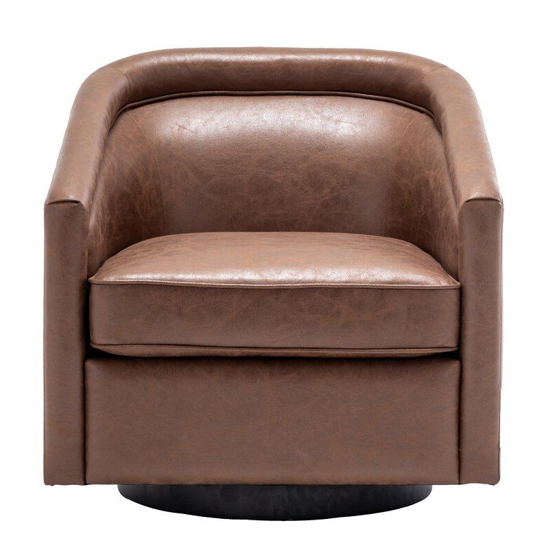 Fashionable Hazley Faux Leather Swivel Barrel Chairs Intended For Hazley (View 2 of 30)