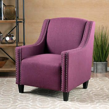 Fashionable Hiltz Armchairs In Beckham Fabric Studded Club Chair – Purple (View 20 of 30)