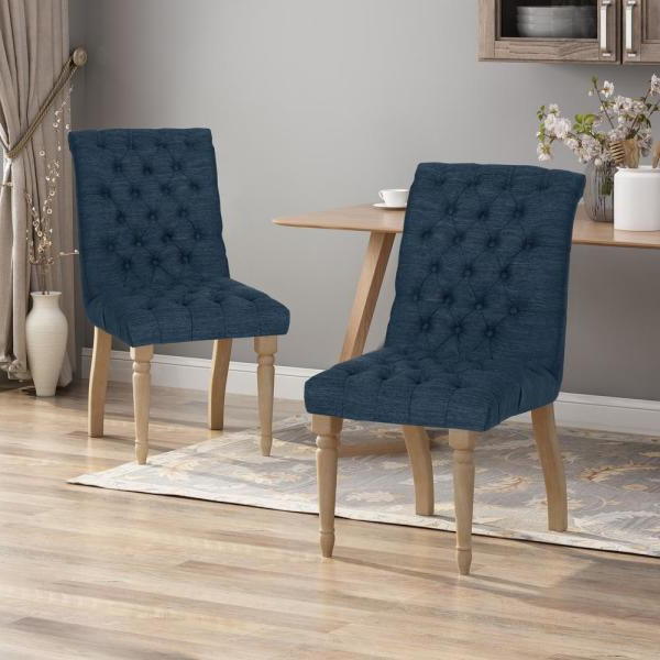 Fashionable Madison Avenue Tufted Cotton Upholstered Dining Chairs (set Of 2) In Noble House Madison Dark Coffee Stripe Fabric Weathered Oak (View 3 of 30)