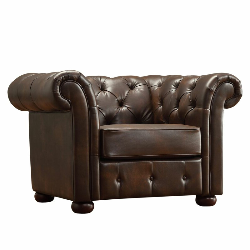 Fashionable Marisa Faux Leather Wingback Chairs Inside Minnie Chesterfield Chair (View 18 of 30)