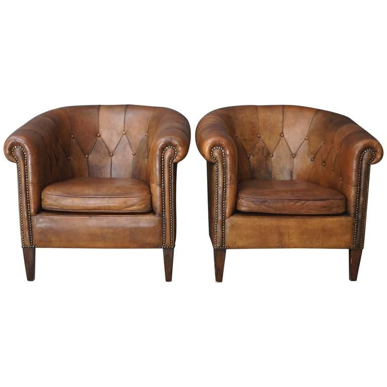 Fashionable Pair Of Vintage Cognac Leather Club Chairs (View 9 of 30)