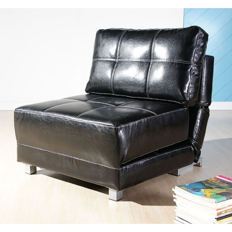 Fashionable Perz Tufted Faux Leather Convertible Chairs Within Hersey (View 3 of 30)