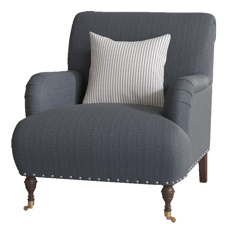 "Fashionable Portmeirion Armchairs Pertaining To Custom: Shephard 22"" Armchair Chair Fabric: Fandango Indigo, Pillow Fabric: Cruise Adrift, Leg: Black Walnut Brass (View 9 of 30)"