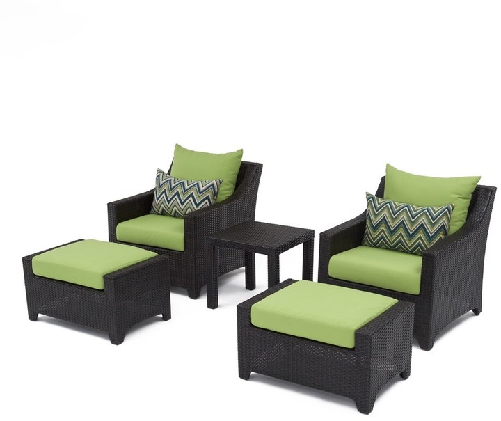 Fashionable Riverside Drive Barrel Chair And Ottoman Sets Pertaining To Deco 5 Piece Club Chair And Ottoman Set With Gingko Green Cushions (View 17 of 30)