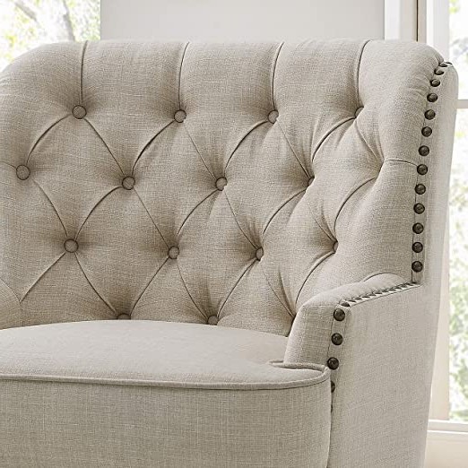 Fashionable Rosevera Vineland Swivel Accent Chair, Beige Within Vineland Polyester Swivel Armchairs (View 29 of 30)