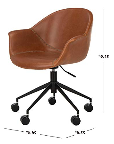 Fashionable Safavieh Home Ember Light Brown Faux Leather And Black Office Chair – Storepaperoomates Shop – Cheapest Online Shop In Africa Intended For Montenegro Faux Leather Club Chairs (View 27 of 30)