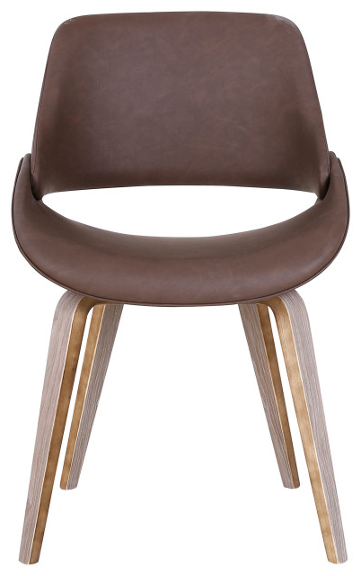 Faux Leather And Wood Accent Chair, Brown In Favorite Liston Faux Leather Barrel Chairs (View 6 of 30)