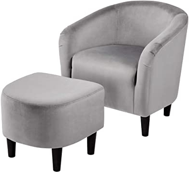 Faux Leather Barrel Chair And Ottoman Sets For Current Topeakmart Velvet Club Chair And Ottoman Set Accent Arm Chair With Ottoman Upholstered Barrel Tub Chair And Ottoman Set For Bedroom Living Room Grey (View 24 of 30)