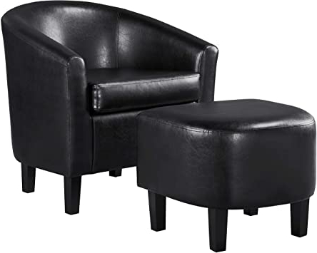 Faux Leather Barrel Chair And Ottoman Sets In 2020 Yaheetech Accent Chair With Ottoman Barrel Tub Chair And Ottoman Set Faux Leather Accent Armchair Lounge Chair With Footrest Set For Living Room (View 3 of 30)