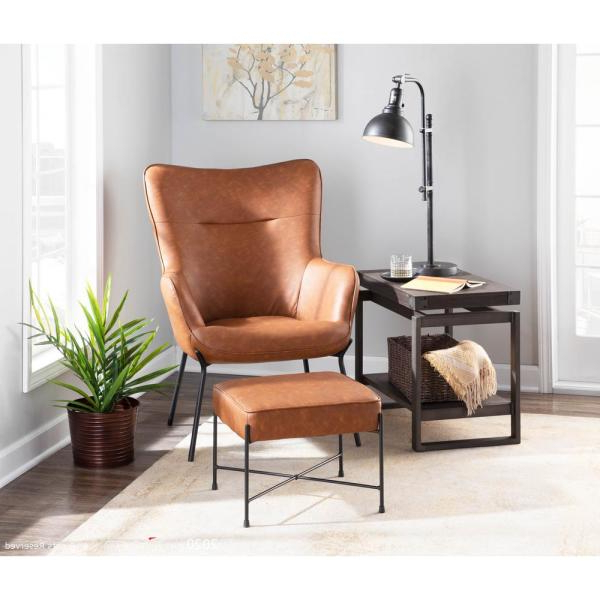 Faux Leather Barrel Chair And Ottoman Sets Inside Most Up To Date Lumisource Izzy Black Lounge Chair With Ottoman In Camel (View 30 of 30)