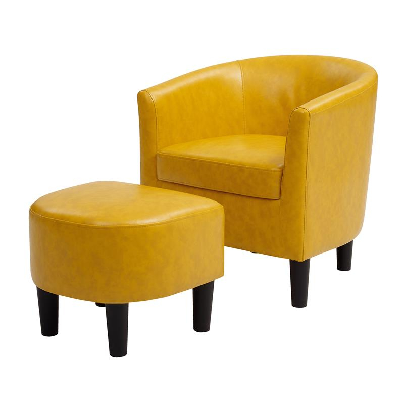 Faux Leather Barrel Chair And Ottoman Sets With Regard To Latest Yl Grand Jazouli Faux Leather Barrel Accent Chair And Ottoman In Yellow (View 16 of 30)